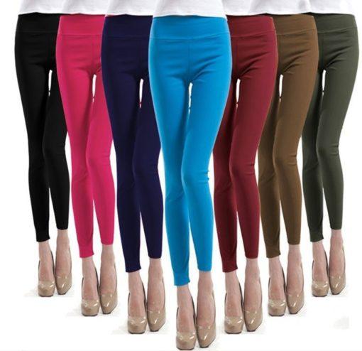 2016 Brand New Plus Size Solid Cotton Causal Fitness Women Leggings Slim High Waist Elastic Leggings Women Pants