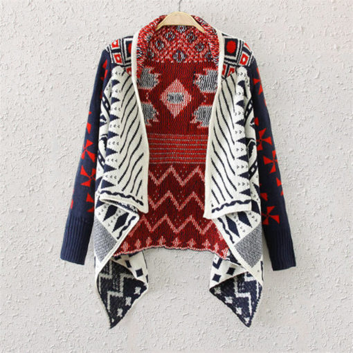 2016 autumn winter sweater women new western hit color cardigan jacket irregular plaid shawl knit sweaters coat vestidos3