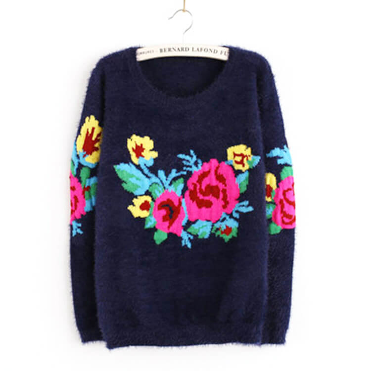 2016 autumn winter sweater women retro roses embroidered sweater women  pullover long-sleeved knit sweater
