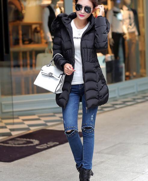 2016 new winter jacket women cotton long Slim thin down coat ...