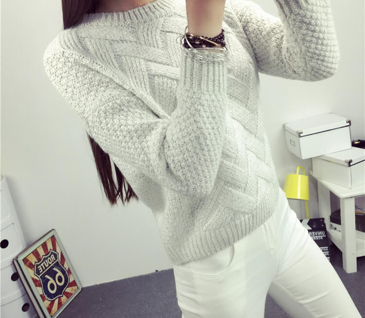 a23b80c3bd 2016 sweater women autumn winter new Korean sweaters thick knittingplaid  knit female loose thin jacket pullover