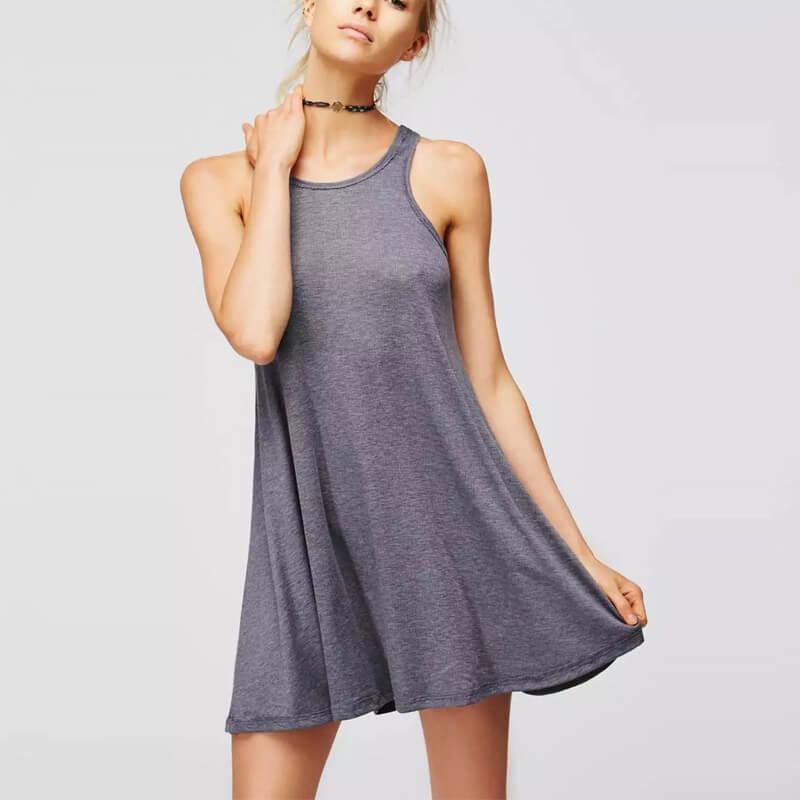 43ec95abdbf7 Black Sleeveless Knitted Ribbed Cotton Casual Dress Women Vest Mini Dress  Girls Spring Short Vestidos Big