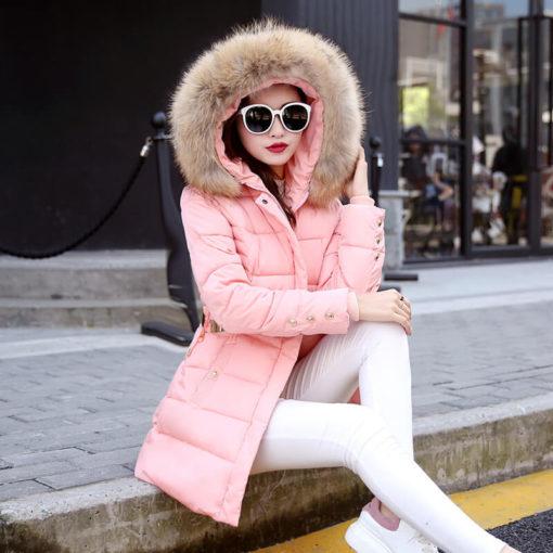 Down coat Korean version long Slim winter jacket women fur collar big yards cotton hooded coats belt fashion tide vestidos