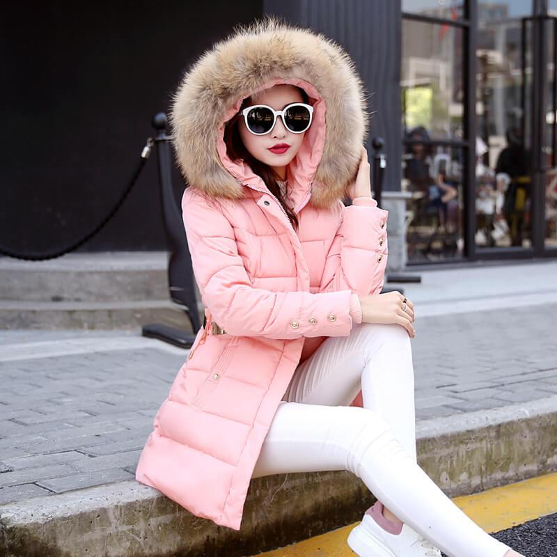 Down coat long slim fur collar big yards cotton hooded coats belt fashion  tide - Fabtag 1977d03da7