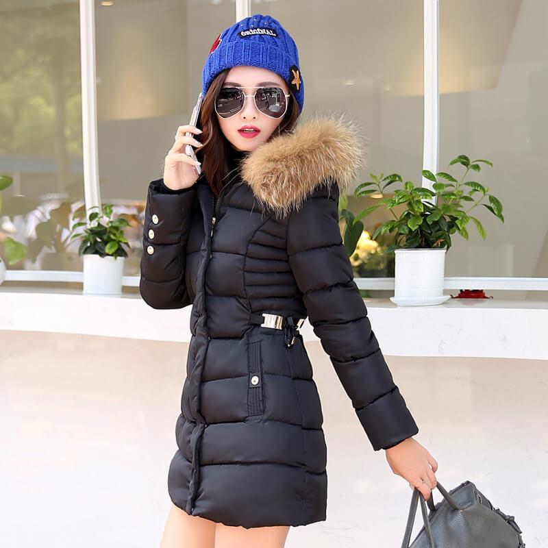 Down coat long slim fur collar big yards cotton hooded coats belt ...