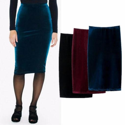 Knee-Length Mid Women Pencil Skirts Soft Stretchable Velvet Elastic Waist Wrap Hips Slim Ladies Skirt