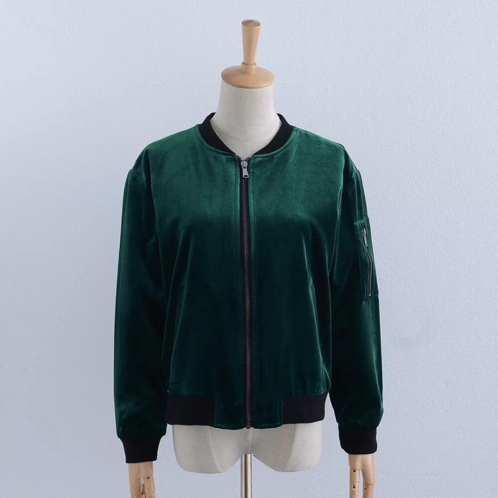 Ladies green velvet coat