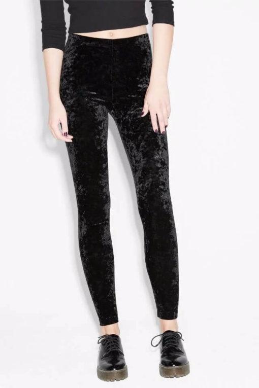 New Soft Velour Women Pants Ankel Length Slim Low Elastic Waist Skinny Bottoming Trousers Female Clothing
