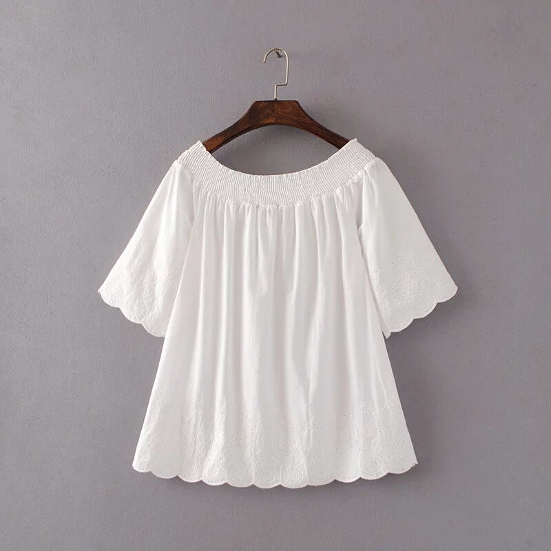 abc348a1e62 New Women Blouses   Shirts Off Shoulder Embroidery Blouse Half Sleeve Female  Shirts Cotton Clothing Femme