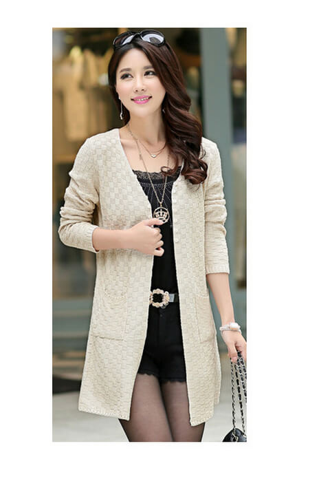 Spring Fall New Sweater Coat Korean Version Long Outer Jumper Loose Knit Cardigan  Women Large Size fd099700f