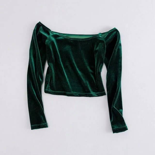 ed4fb6c5b8d6b1 Stretchable Soft Velour Women Crop Tops Off Shoulder Long Sleeve T Shirts  Ladies Sexy Slash Neck