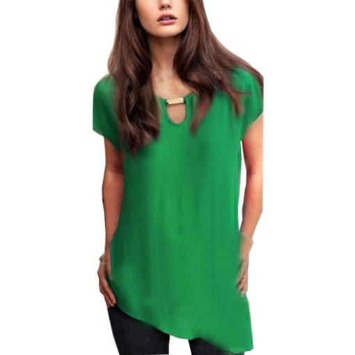 Summer style blusas new 2016 plus size clothing of copper decoration irregular blouse sweep chiffon shirt vestidos