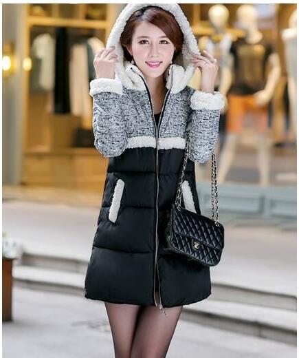 Winter jacket women 2016 Fall or winter new lambs wool Cap collar long down coats loose feather padded vestidos