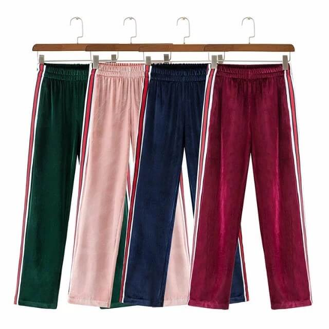 9f1a69b289e50 Women Loose Pants Elastic Waist Side Stripe Ladies Sports Style Trousers  Femme Wide Leg Velvet Pants