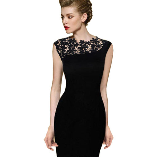 Women summer dress 2016 new fashion sale casual patchwork lace sleeveless slim pencil women's clothing one-piece dress