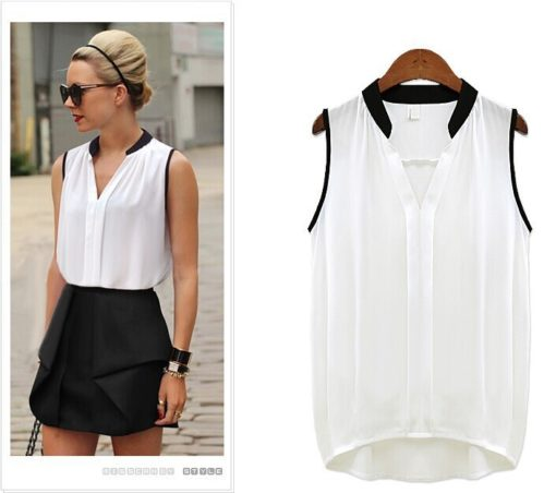 Women's Blouses Sleeveless Chiffon V Neck Loose Summer Style Ladies Casual Tops Female Clothing 2015 New White Black And Shirts
