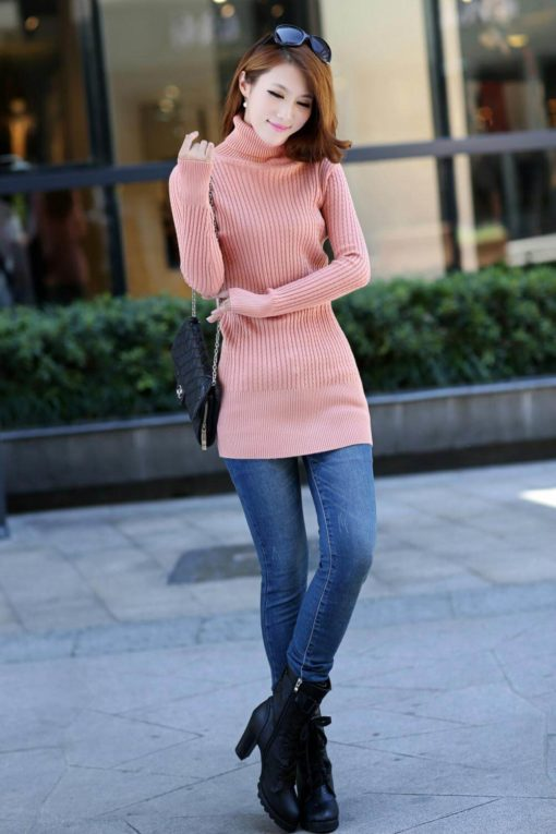 high-neck sweaters 2016 new arrival hot sale long sleeve twist knit women clothing slim ladies casual pullovers2