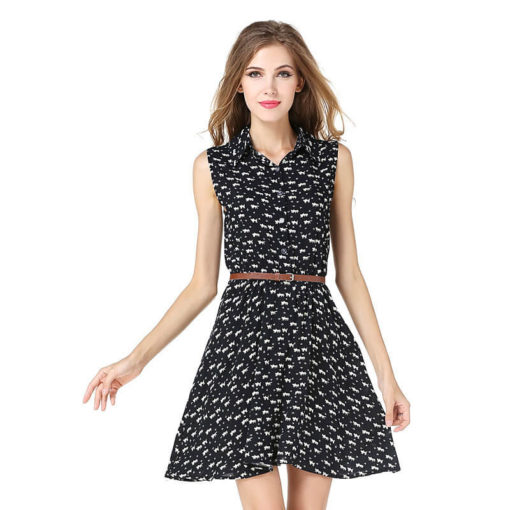 summer dress 2016 fashion new women dress Cat footprints pattern Show thin dress casual dresses with Belt vestidos