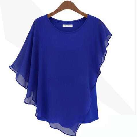 2017 Summer stytle colored fashion formal blouse short-sleeve ruffle chiffon shirt top women's vestidos2