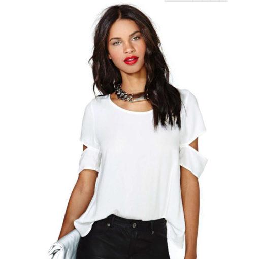 European and American women on the back cross-cut strapless short sleeves women blouse chiffon shirt vestidos