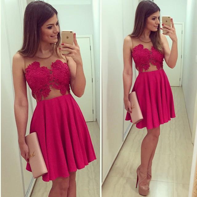 Summer dress 2017 new summer style vestido female red gauze patchwork sleeveless o-neck mini lace dresses vestidos