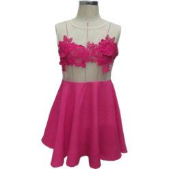 Summer dress 2017 new summer style vestido female red gauze patchwork sleeveless o-neck mini lace dresses vestidos2