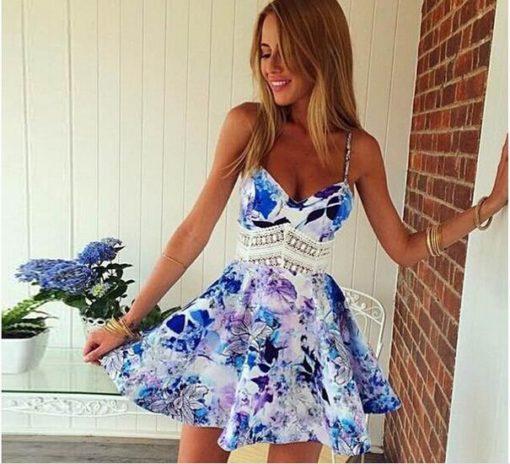 Women summer style dress 2017 new fashion print sexy spaghetti strap sleeveless one-piece dresses vestidos