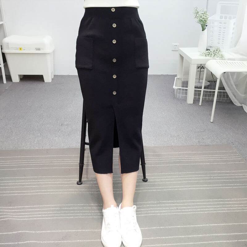maxi slim knit hip thin highwaist pockets skirts fabtag
