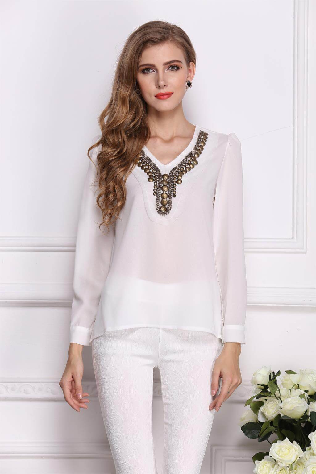 2017 new spring camisa feminina long V-neck blouse irregular blusa ...
