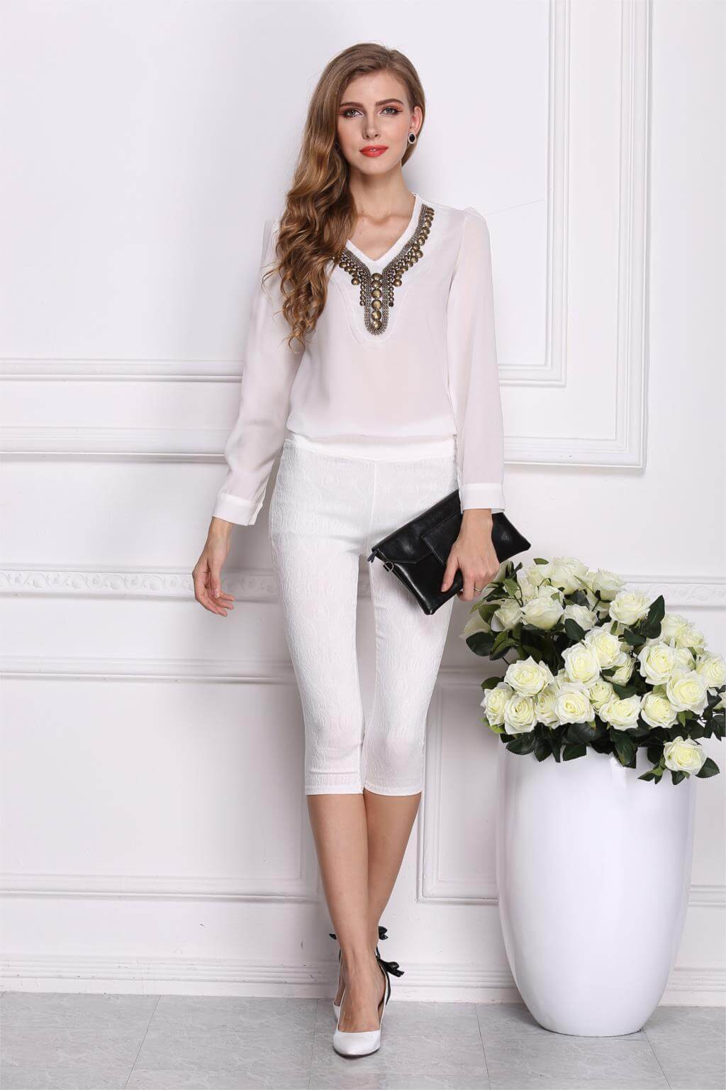 New Long V Neck Blouse Irregular Chiffon Shirt Fabtag