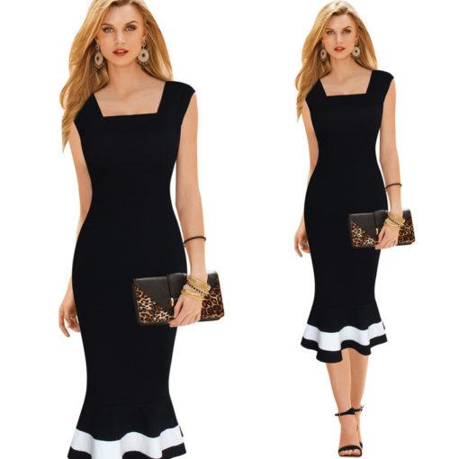 2017 trade ladies dresses dress spell color sexy tight waist Slim sleeveless fishtail vestidos