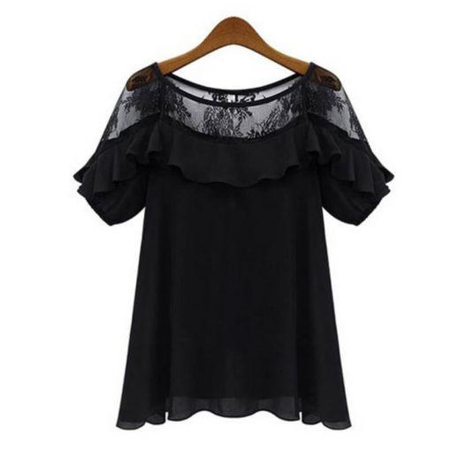 Europe 2017 summer blusa new European American hollow sexy chiffon shirt loose women's blouses large size blouse vestidos