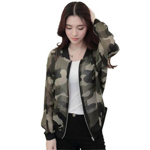 Fashion women basic coats Stand Collar Long Sleeve Zipper Camouflage Printed Bomber Jacket good quality jaqueta feminina