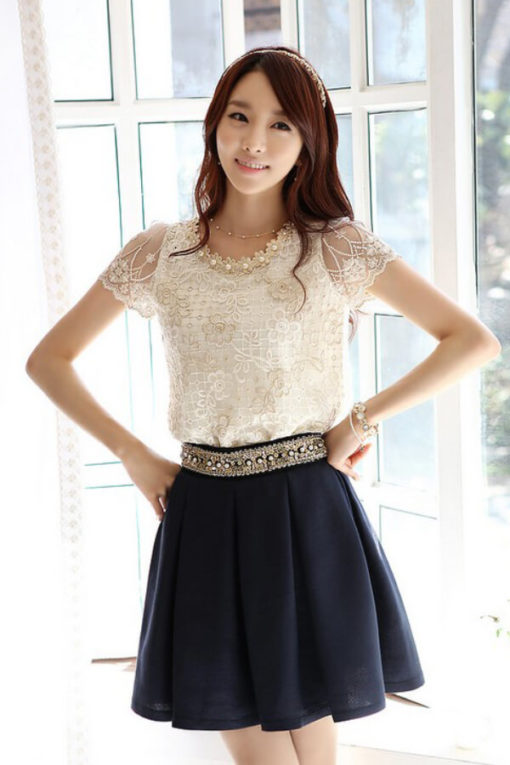 Han edition lace short-sleeved shirt is the short sleeve chiffon unlined upper garment embroidery lace nail bead2