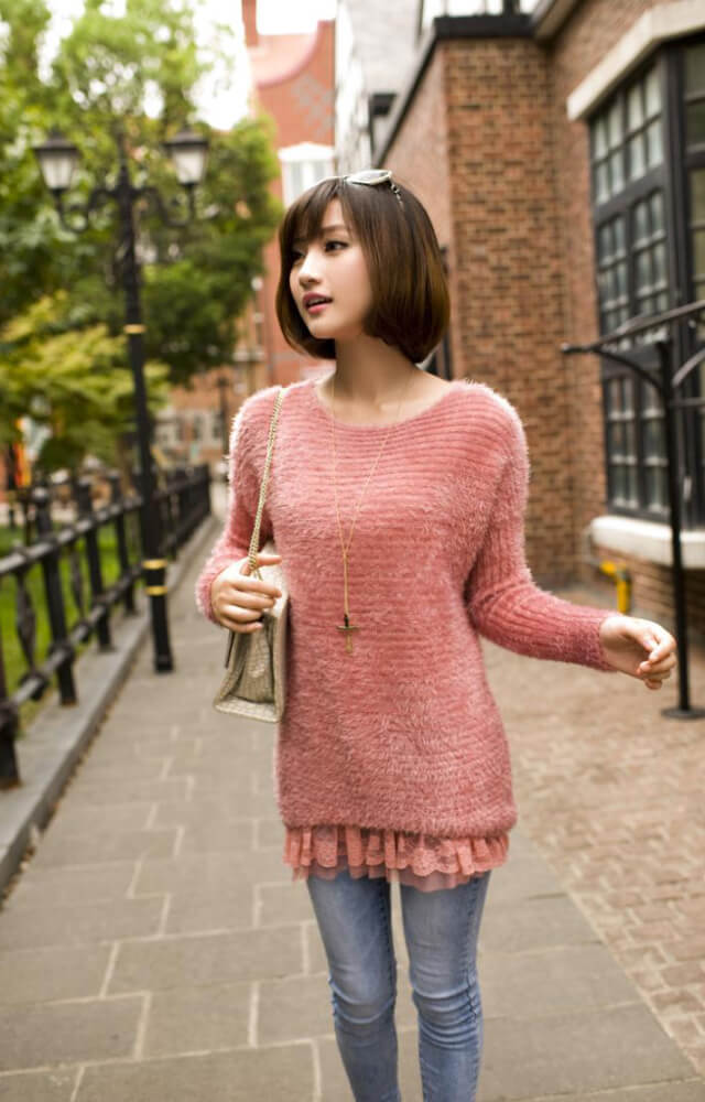 Round neck loose knitted women sweater - Fabtag 7a1e87a58e85