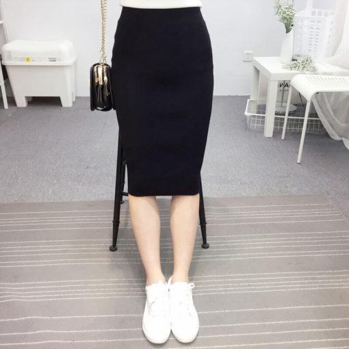 New Autumn Winter Skirt Black Thin Ladies Slim Package Hip Slits Skirts Women Vintage Faldas Clothing Vestidos