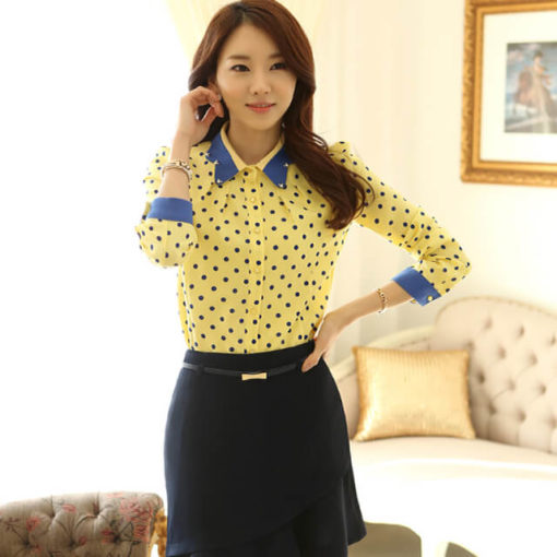 Spring, summer, new type of cultivate one's morality Render unlined upper garment of dot chiffon blouse big yards
