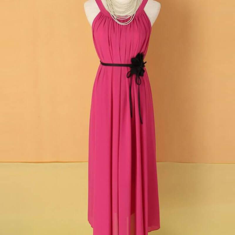 fc32a7767341 Summer dress 2017 beach full dress elegant bohemia chiffon expansion bottom  dresses solid color vestidos women s