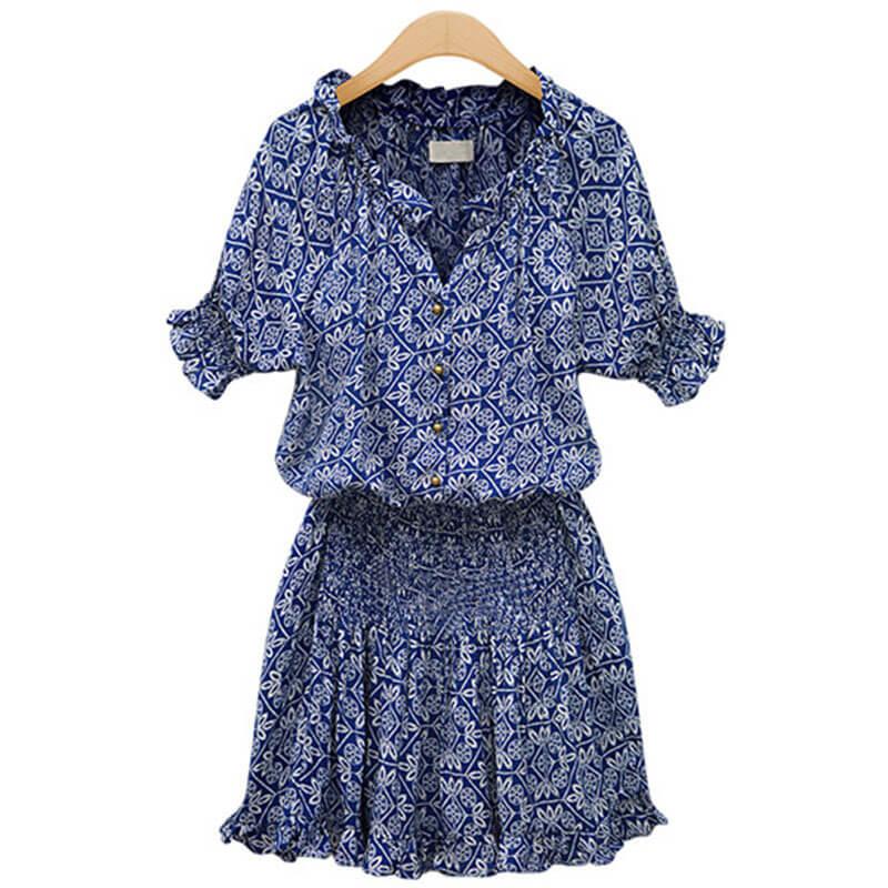 670dfd045fc0 New print cotton casual all-match v-neck dresses - Fabtag
