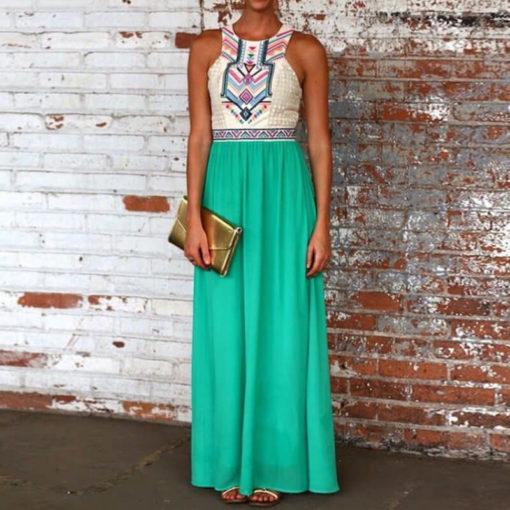 Women summer dress 2017 new Hot-selling fashion sleeveless chiffon long patchwork print formal dresses vestidos