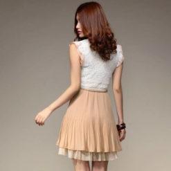 Women summer style dress 2017 new Sweet elegant slim belt lace patchwork chiffon high quality dresses vestidos3