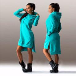 2017 Autumn hoodies sweatshirt long-sleeve dress hot-selling fashion irregular with a hood vestidos women's clothing2