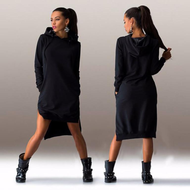 2017 Autumn hoodies sweatshirt long-sleeve dress hot-selling fashion irregular with a hood vestidos women's clothing3