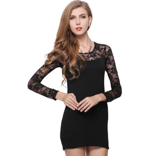 2017 Women dresses plus size lace stitching vestido women's package hip bottoming long-sleeved dress clothing vestidos