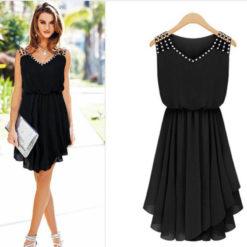 2017 ladies Chiffon Dress suspenders slim summer dress diamond temperament2