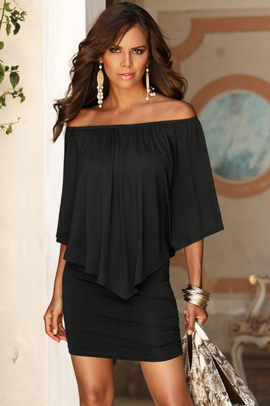2017 summer dresses new Europe America vistido stitching fake two-piece leakage shoulder bat sleeve short dress vestidos