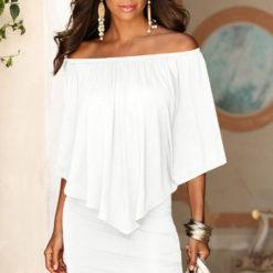 2017 summer dresses new Europe America vistido stitching fake two-piece leakage shoulder bat sleeve short dress vestidos2