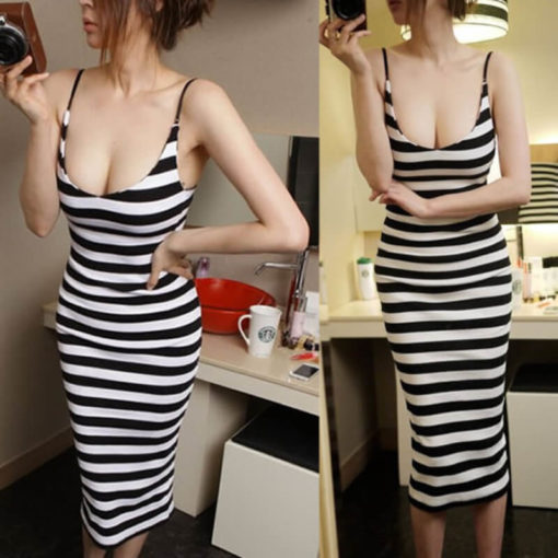 Club harness stripe waist bag hip sexy dress of cultivate one's morality vestidos