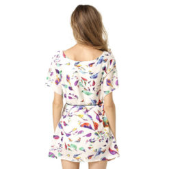 Europe America 2017 summer dresses dress print chiffon new large size bat sleeve dress send belt clothing vestidos2