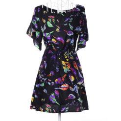 Europe America 2017 summer dresses dress print chiffon new large size bat sleeve dress send belt clothing vestidos3